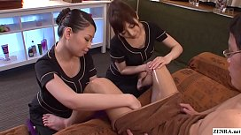 JAV CFNM massage clinic handjob by two masseuses Subtitles