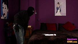 Femdom lady turns table on burglar with bj