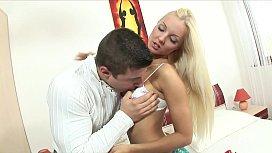 Beautiful slender blonde Victoria Kruz sucks and fucks her man's uncut cock