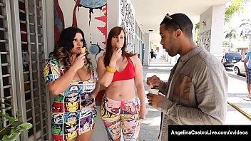 Curvy Cock Suckers, Angelina Castro & Virgo Peridot, milk a big black cock, sucking & stroking his chocolate manhood, until they taste his cum! Full Video & Angelina Live @ AngelinaCastroLive.com!