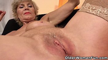 Aged gilf Inke does a teasingly slow strip before she lubes up her old pussy for a deep dildo fucking (brand NEW video available in Full HD 1080P). Bonus video: European gilf Danina.