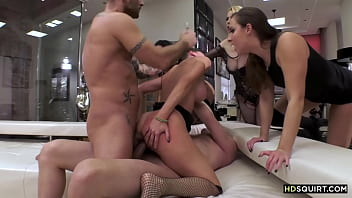 Sweaty and hardcore anal orgy with squirter sluts