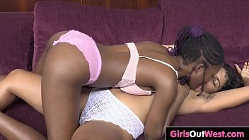 Cute exotic lesbians lick and toe fuck each others horny hairy cunts