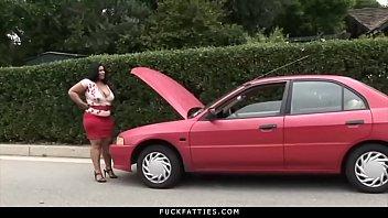 FuckFatties - Ebony Delilah Black In A Fucking Car Trouble