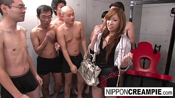 Real Japanese schoolgirl in a fuck and suck gangbang