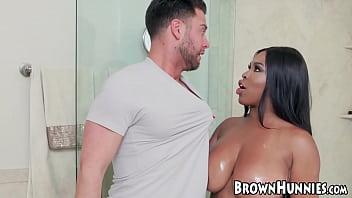 Black amateur babe with huge tits sucks