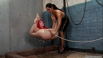 Brunette big tits lezdom spy Isis Love watching pink haired babe Proxy Paige anal masturbate then anal fists her and gives her enema