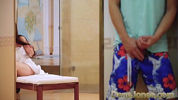Marry drops her towel so Ricky can suck her big tits, then drops to her knees and gives him a blowjob. Ricky fucks the fit babe all over the spa, then cums on her pussy.