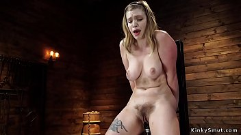 Hairy pussy natural big tits solo blonde hottie masturbates with vibrator then bangs very fast machine