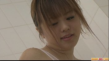 Naughty babe Noriko teasing and pussy fondling in the bathroom 8 min