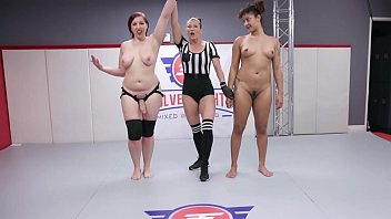 Lesbian sex fighting with Mistress Kara vs Daisy Ducati with face sitting then hard strap-on sex at Evolved Fights Lez