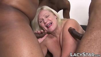 Kinky UK GILF Lacey Starr gangbanged by interracial big cock