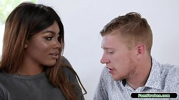 Big tits ebony stepsis wants to piss off her dad by having sex with her stepbro.She takes out her big boobs and he sucks them.She titfucks his big cock and sucks him off before letting him fuck her