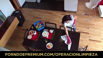 OPERACION LIMPIEZA - Latina cleaning lady Ana Mesa sucks and rides hard cock