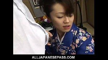 Mai Satsuki is a great geisha in a kimono that satisfys both of her businessmen 6 min