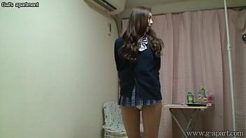 Naked Japanese Madoka wears a Miniskirt School Uniform