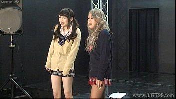 Japanese femdom Shuri Atomi and MIRANO makes slave cunnilingus 3 min