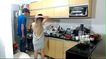 Voyeur girl gives the plumber a show