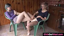 Hairy lesbian cuties give each other foot massa...