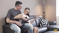 OLD4K. Old musician plays guitar for teen babe ...