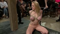 Huge tits blonde Milf Dee Williams is first time in public disgrace under mistress Princess Donna Dolore and gets anal fucked by master John Strong Thumbnail