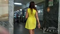 Hidden camera caught a girl in subway no panties.