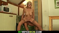 Horny old m.-in-law riding his dick