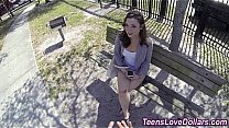 Sexy teen sucking cock and getting fucked for c...