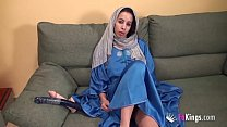 Egyptian brunette has a self-sex-session with r...