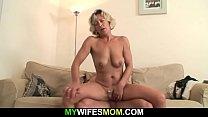 Blond oleder woman has fun