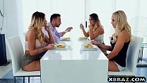 Blondes fucking hard end up on hot foursome