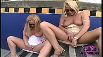 Hot Blondies Flash Tits And Upskirt Pussy
