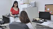 Threesome with Asian hotties at the office