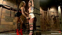 Gagged and strapped brunette lesbian Juliette M...