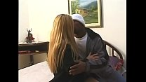 Horny slut in leather boots takes a big black c...
