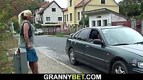 Blonde granny gets doggy-fucked by stranger