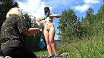Lesbians arranged a photo shoot outdoor, and th...