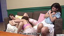 JAV lesbian oral leads to blowjob while friend watches Subtitles Thumbnail