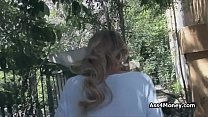 Blonde amateur fucked by strangers outdoors for...
