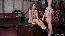 Hot busty brunette lesbian slave Chanel Preston...
