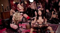 Huge tits blonde mistress vibrates her slave wh...