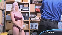 Gorgeous 32DDD thief busted and fucked