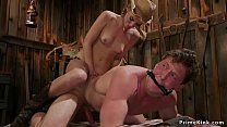 Sexy brunette rancher with huge strap on cock f...