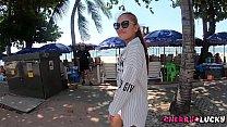 Hot asian woman walking near beach and make me ...