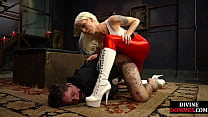 BDSM domme humiliates sub with strapon