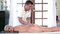 Blonde milf gets a masseurs dick as a gift from...