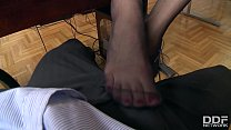 Watch POV footjob makes dude blow endless cum across Lindsey Olsen's sexy nylons preview