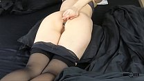Mom inserting anal plug to tight ass and finger...