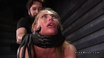 Watch Blindfolded and strapped blonde gets throat fucked through spider gag preview