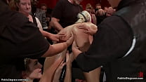 Gagged and bent over wooden pony blonde small t...